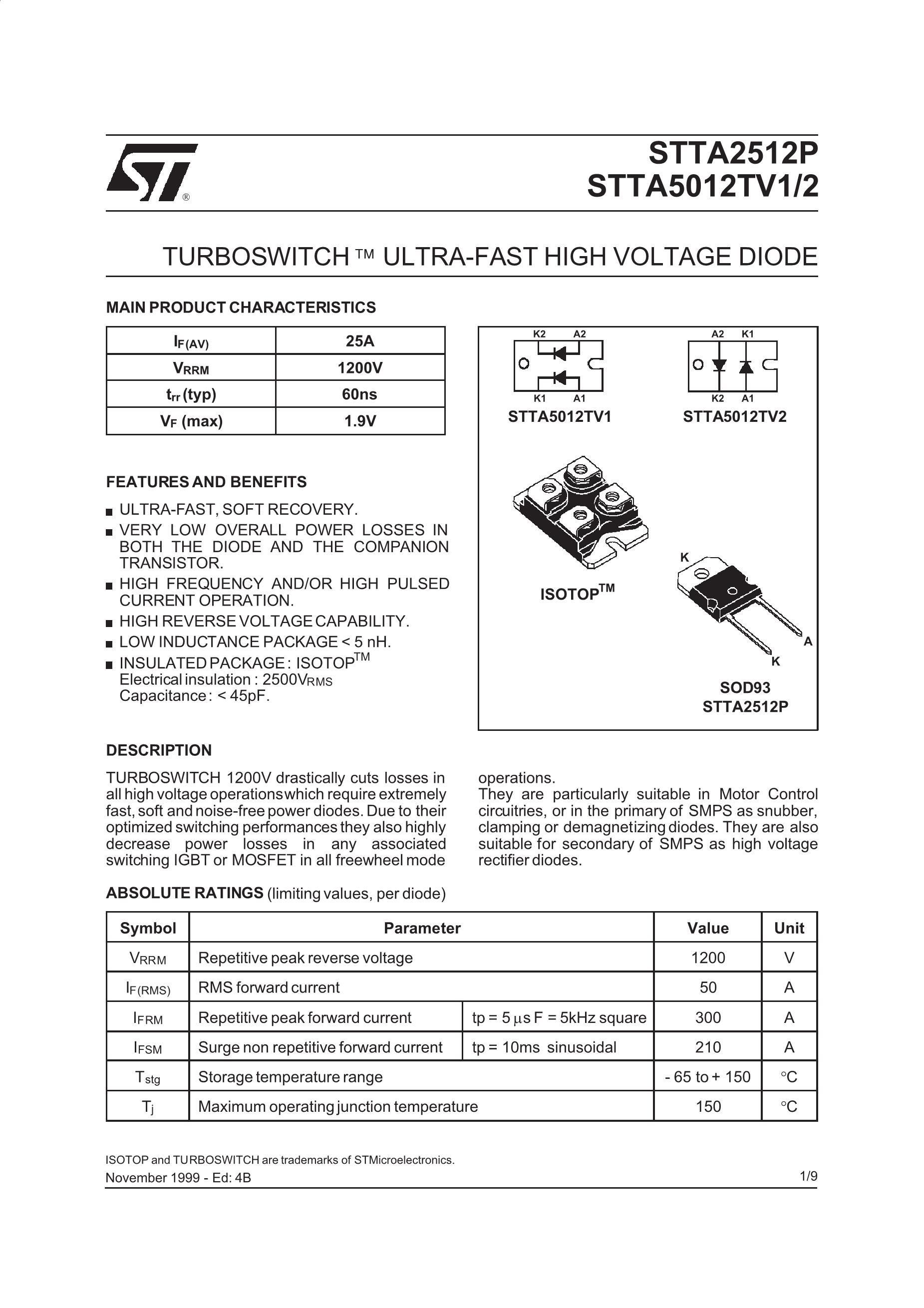STTA5012TV2's pdf picture 1