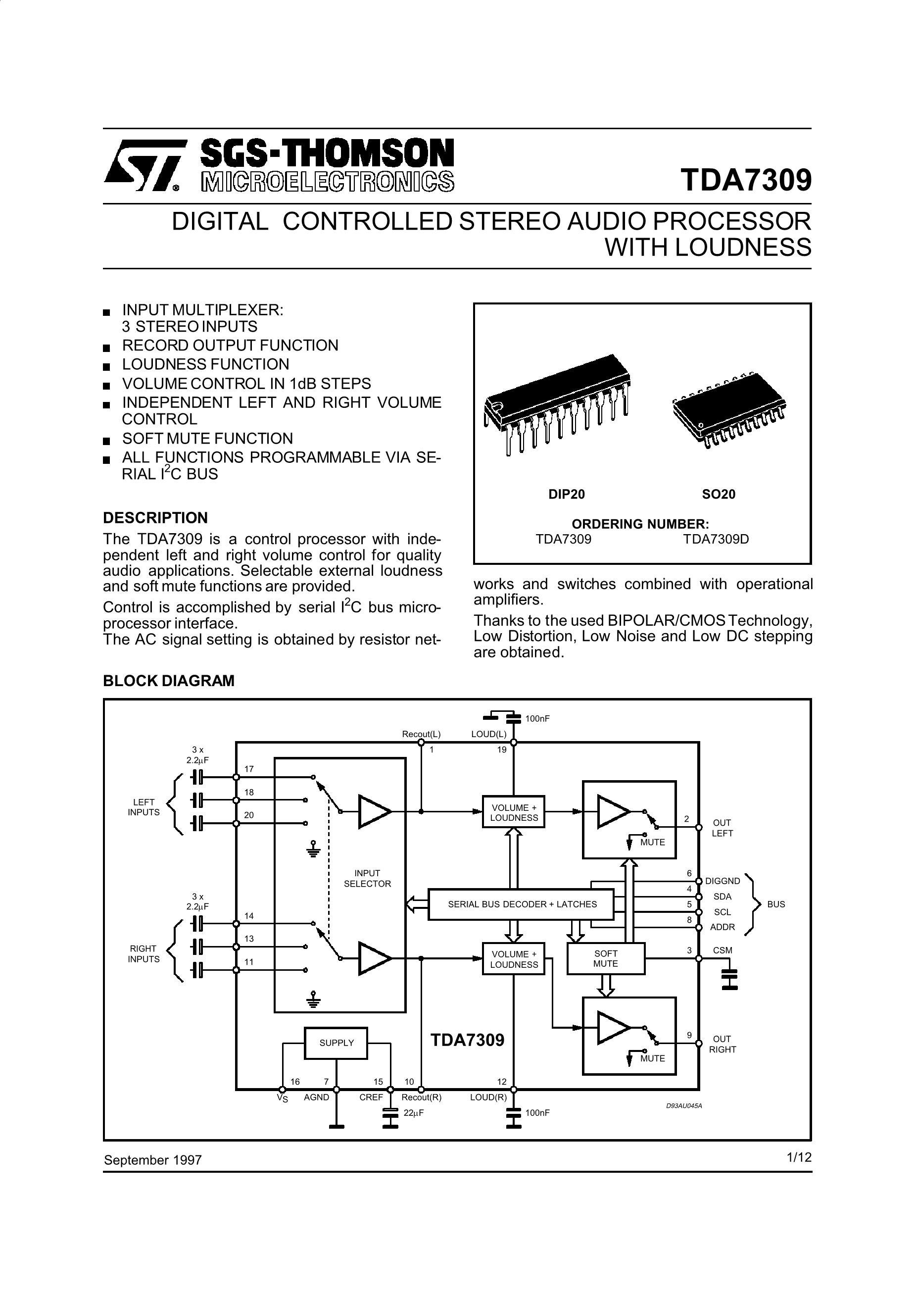 TDA7309D's pdf picture 1