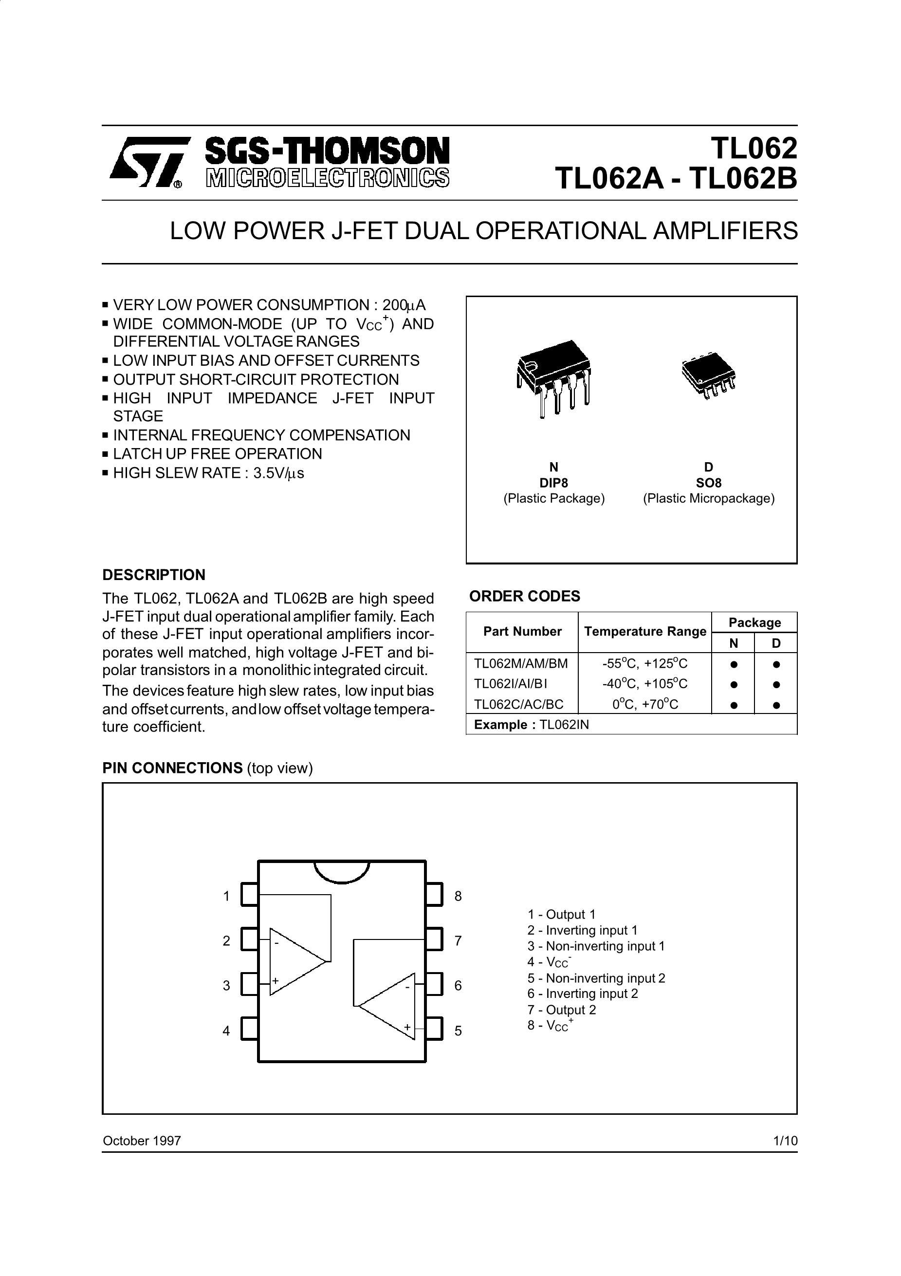 TL062CD's pdf picture 1