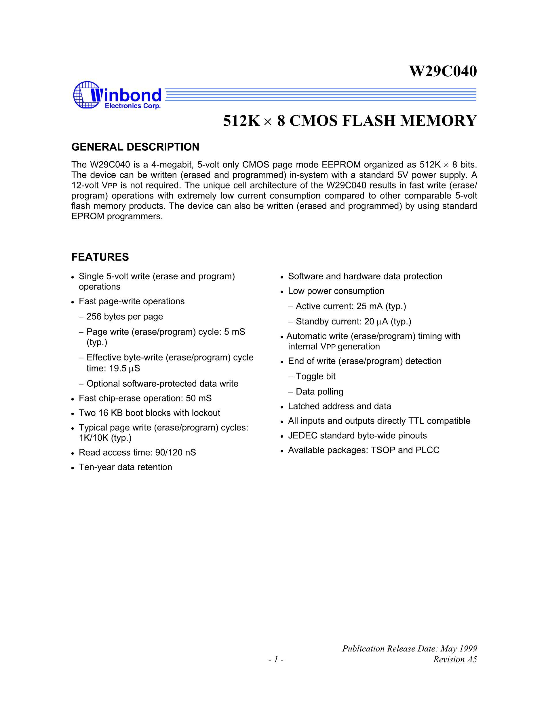 W29C020CP90B's pdf picture 1