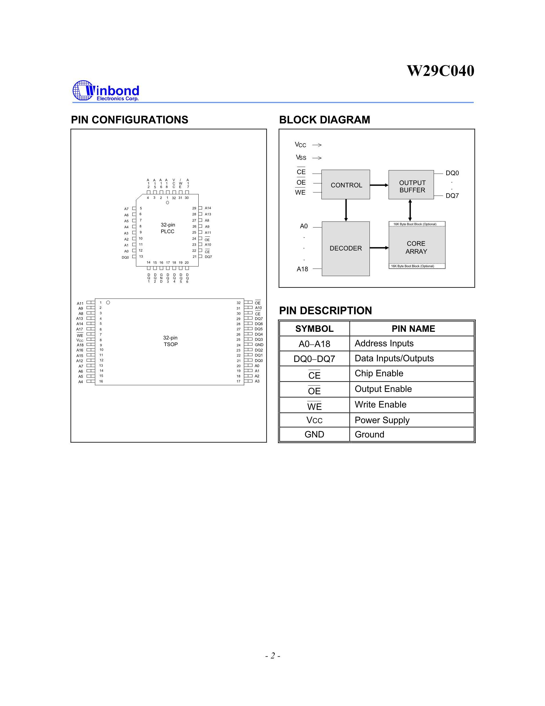 W29C020CP90B's pdf picture 2