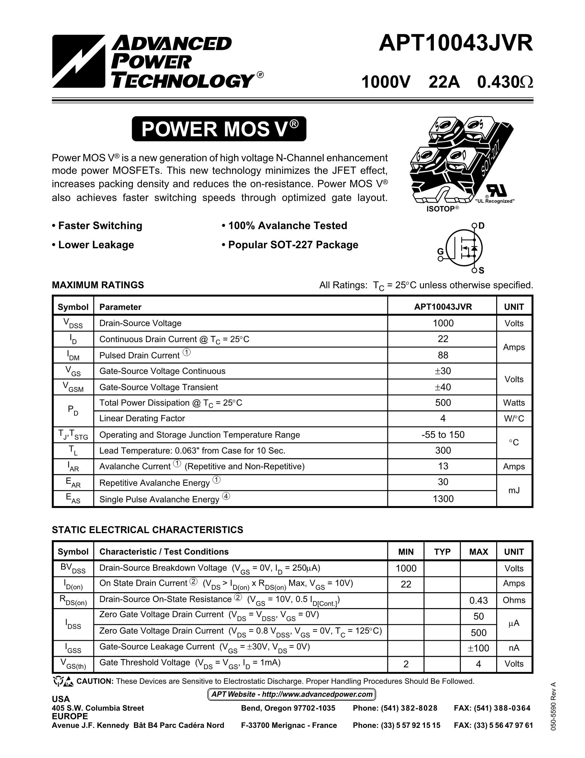 APT10050JVFR's pdf picture 1