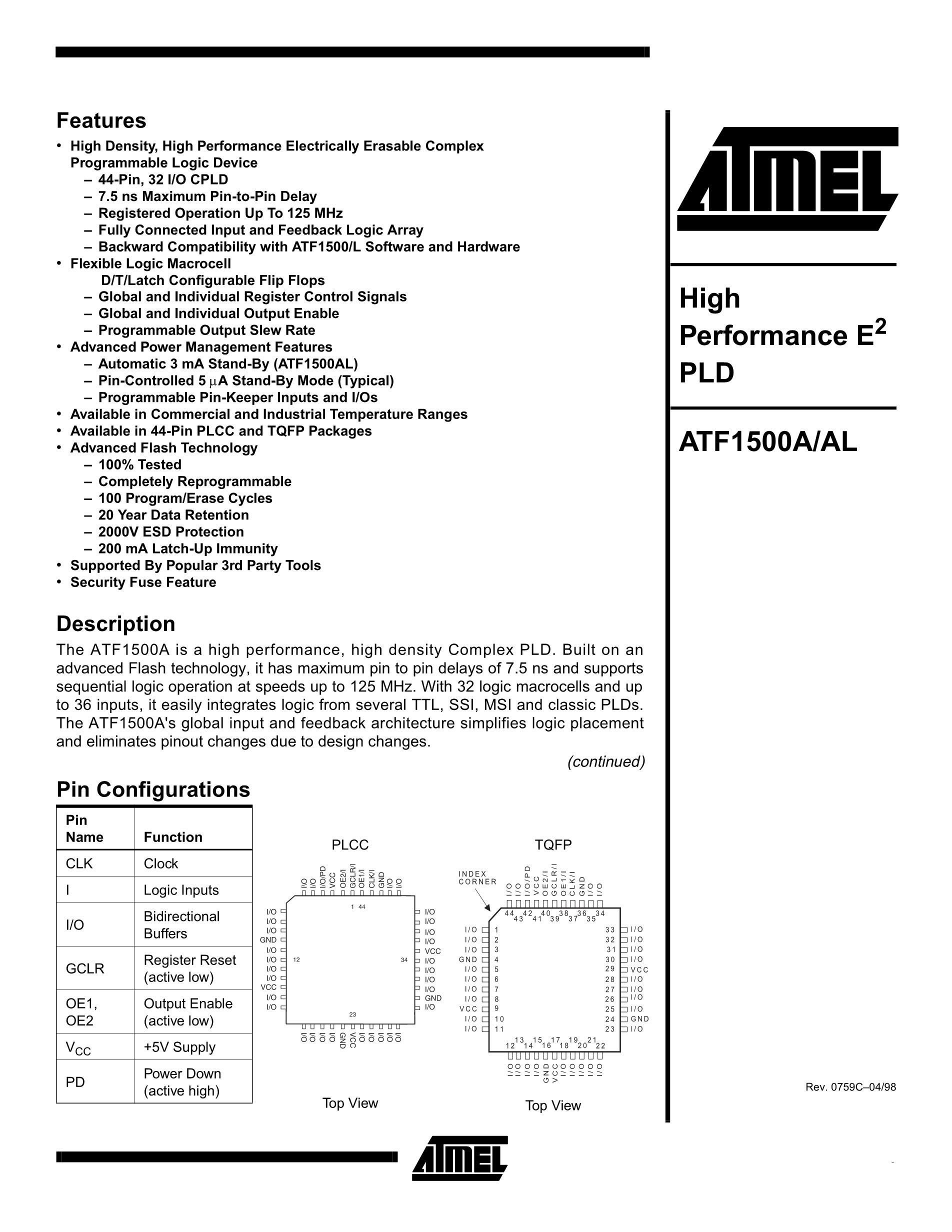 ATF16LV8C-10PC's pdf picture 1