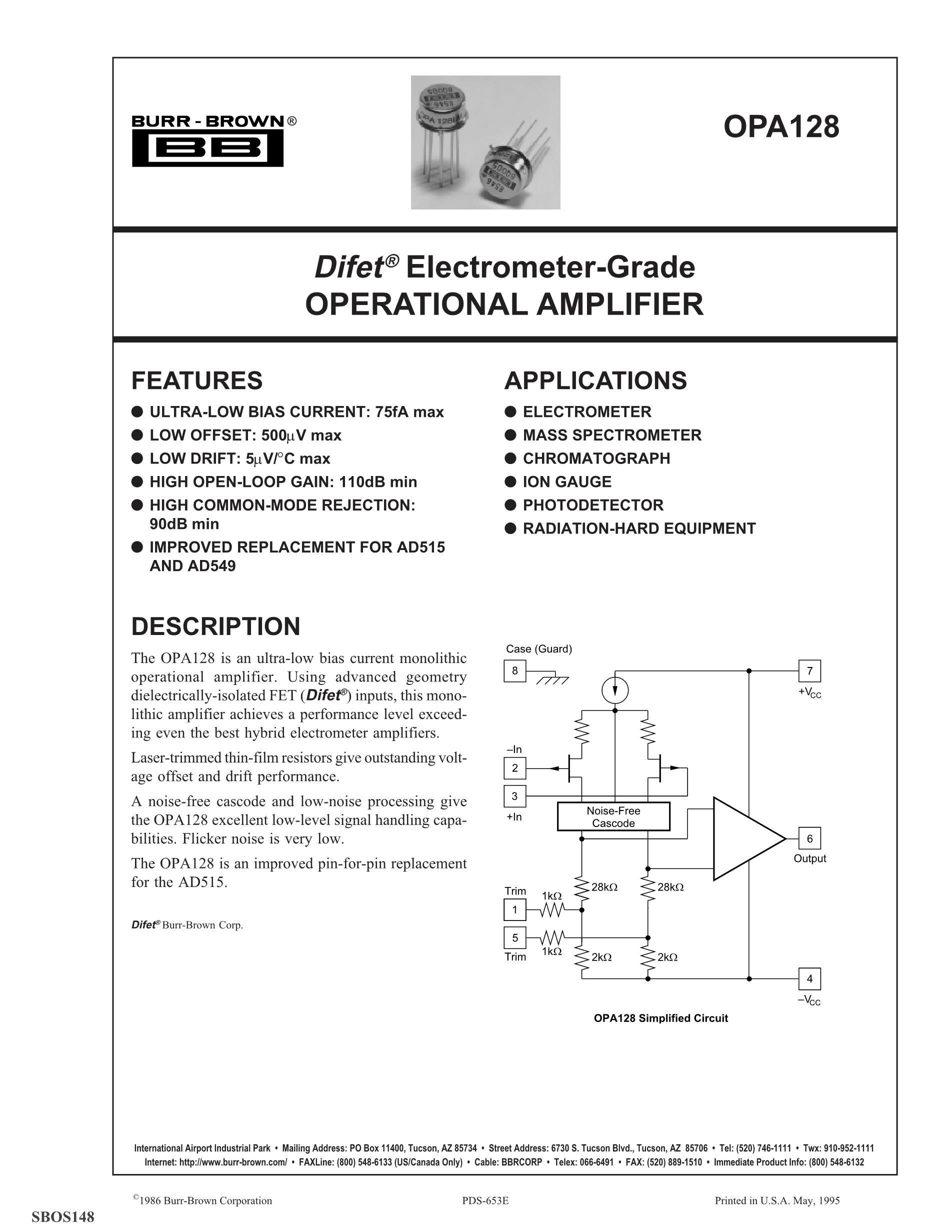 OPA130U's pdf picture 1