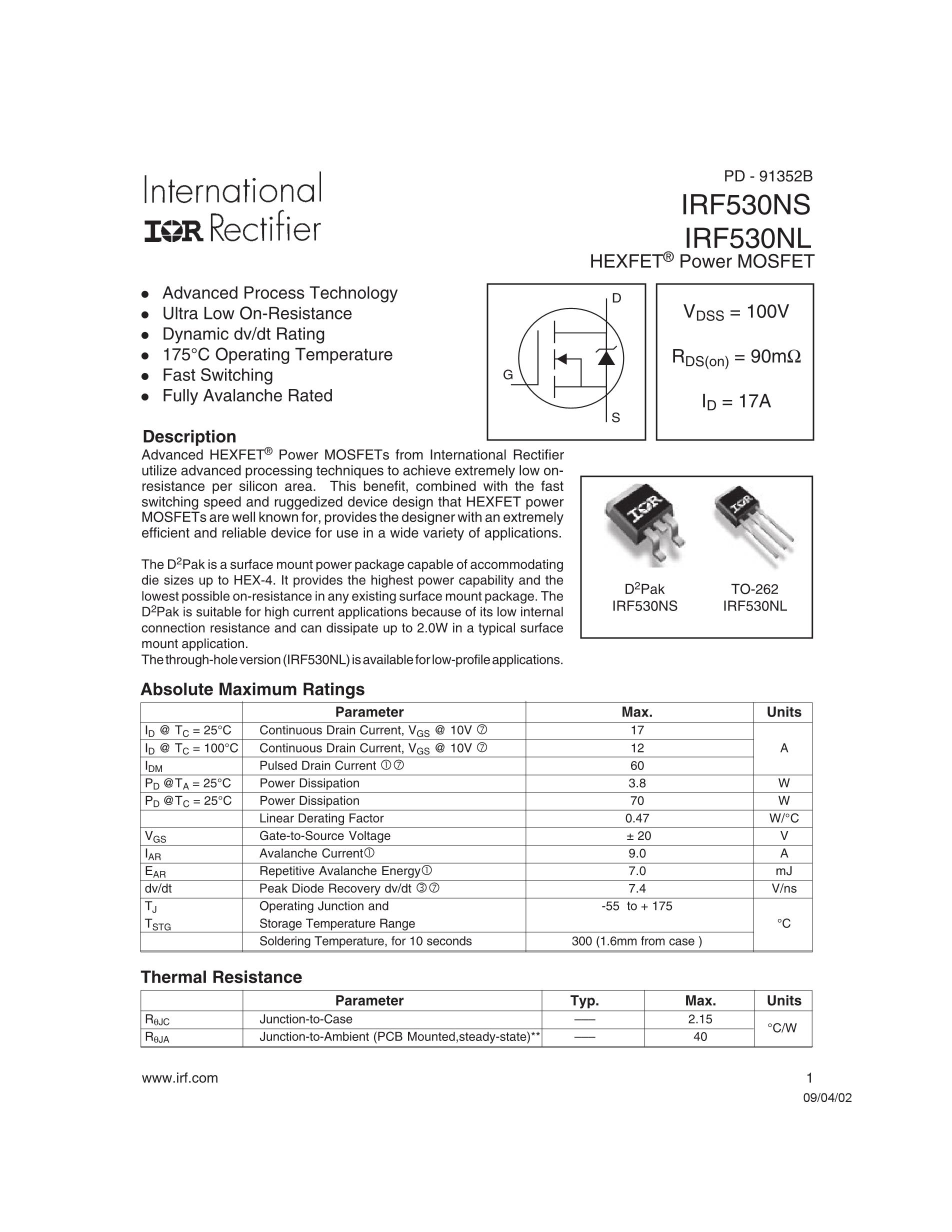 IRF540NPBF's pdf picture 1