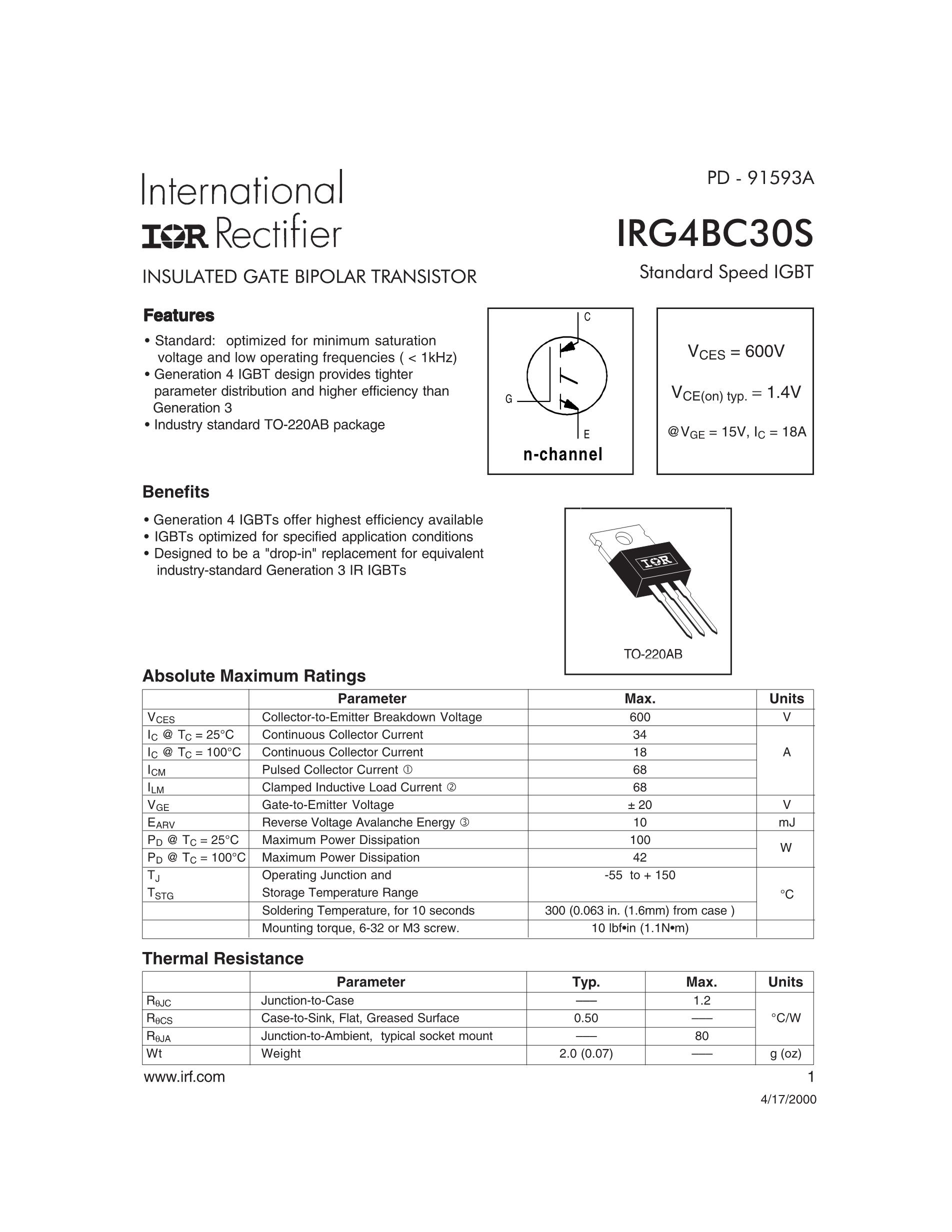 IRG4PH40U's pdf picture 1