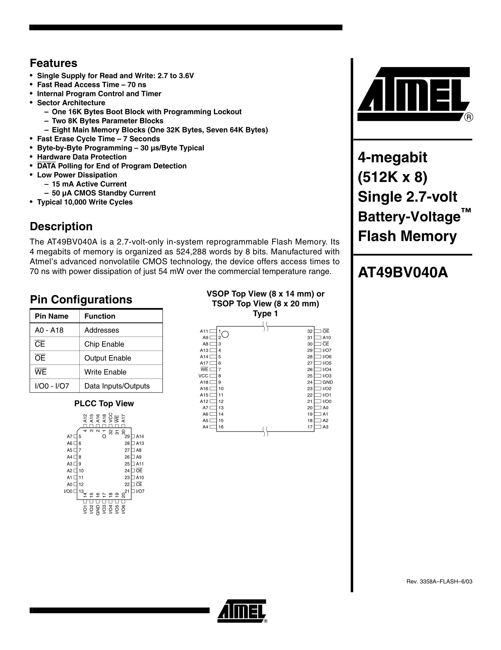 AT49F040-70TI's pdf picture 1