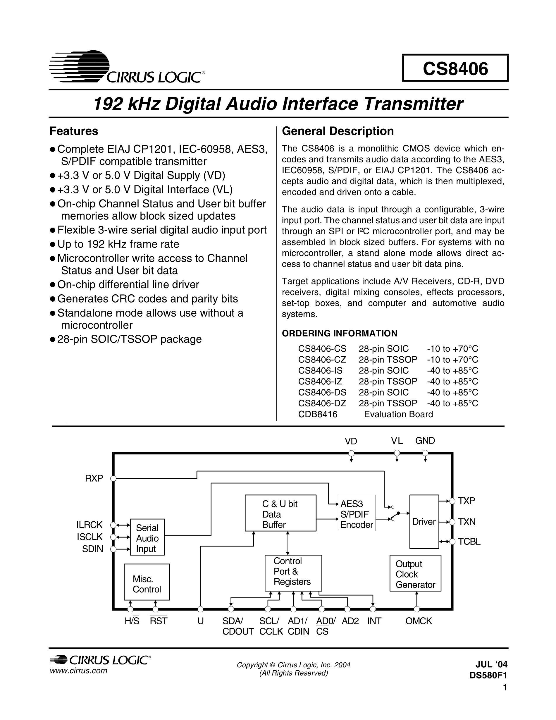 CS8416-CZZ's pdf picture 1