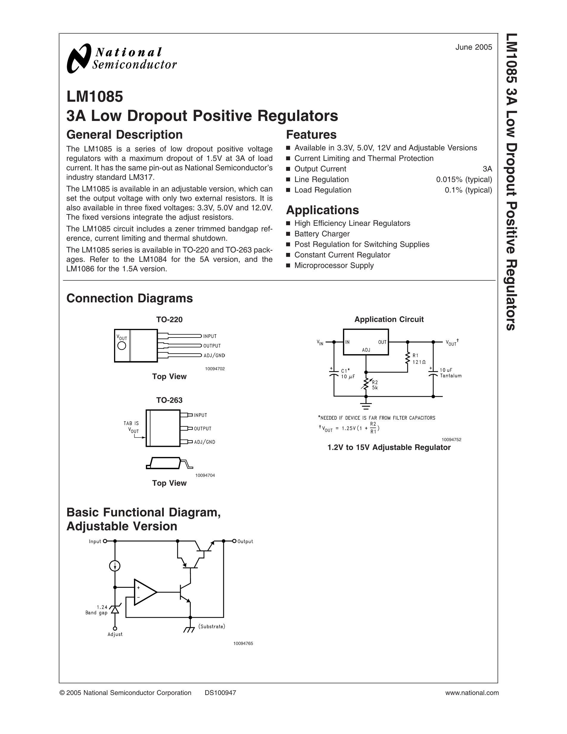 LM1085IT-ADJ's pdf picture 1