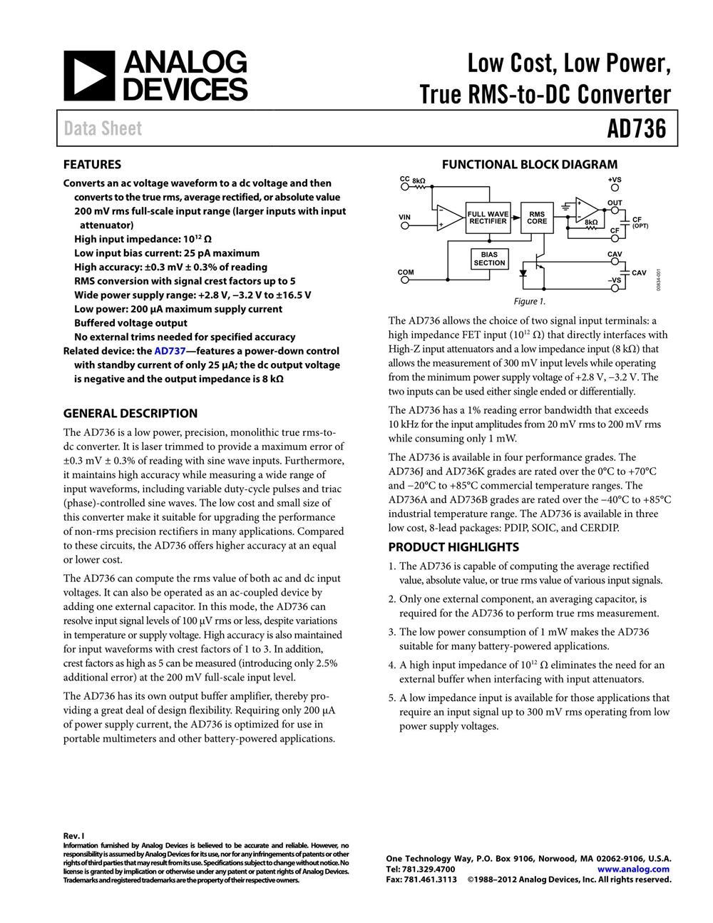 AD637ARZ's pdf picture 1