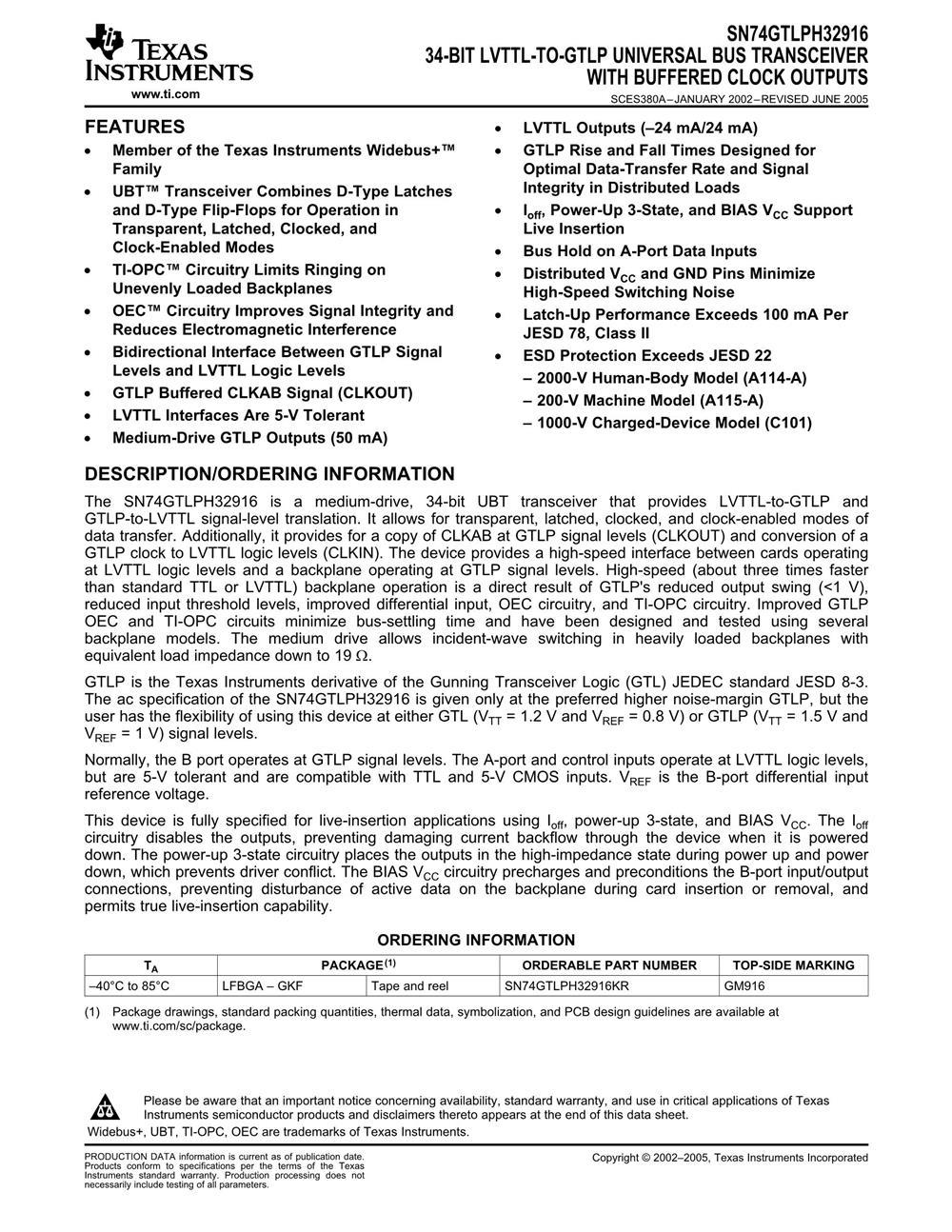 SN74GTLPH32916KR's pdf picture 1