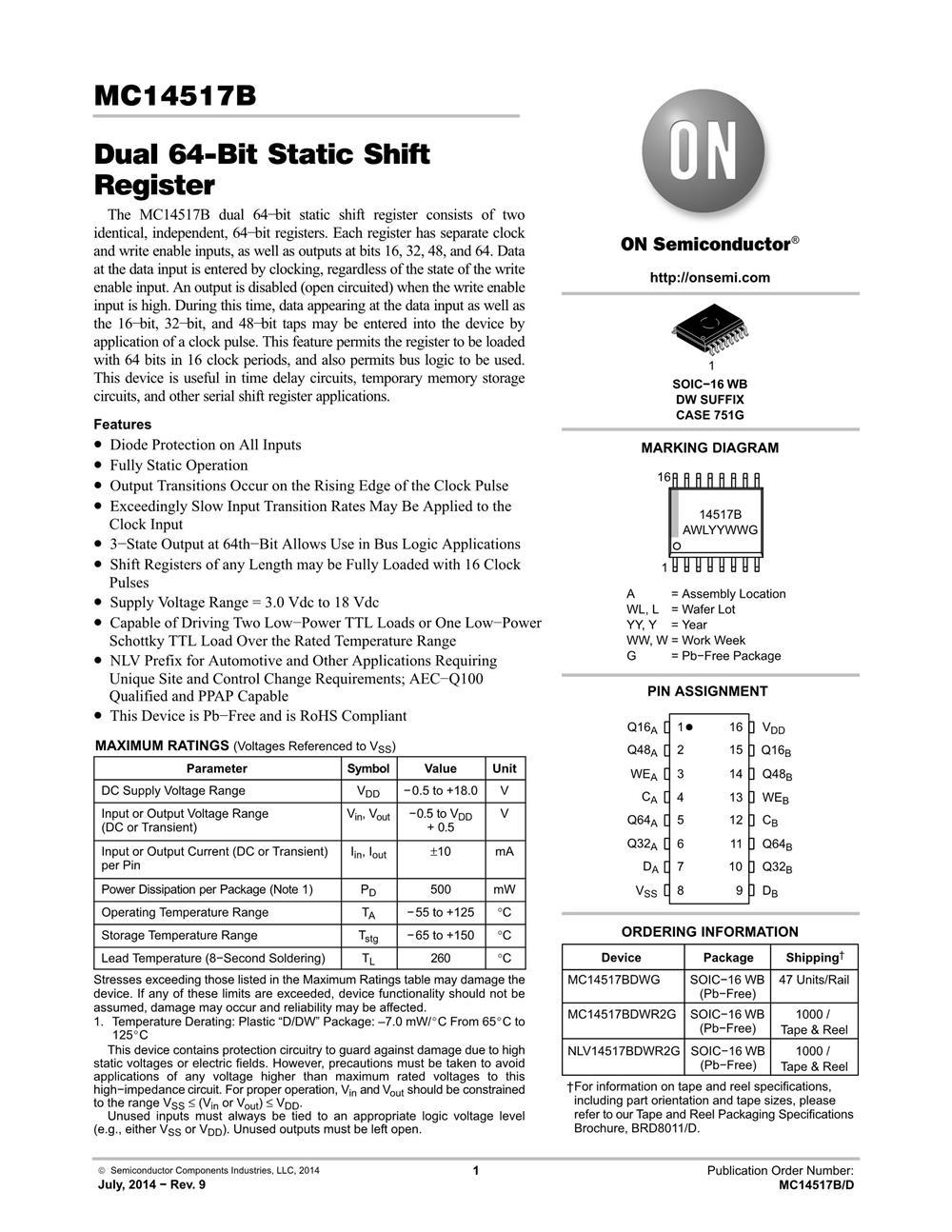 MC14517BDWR2G's pdf picture 1