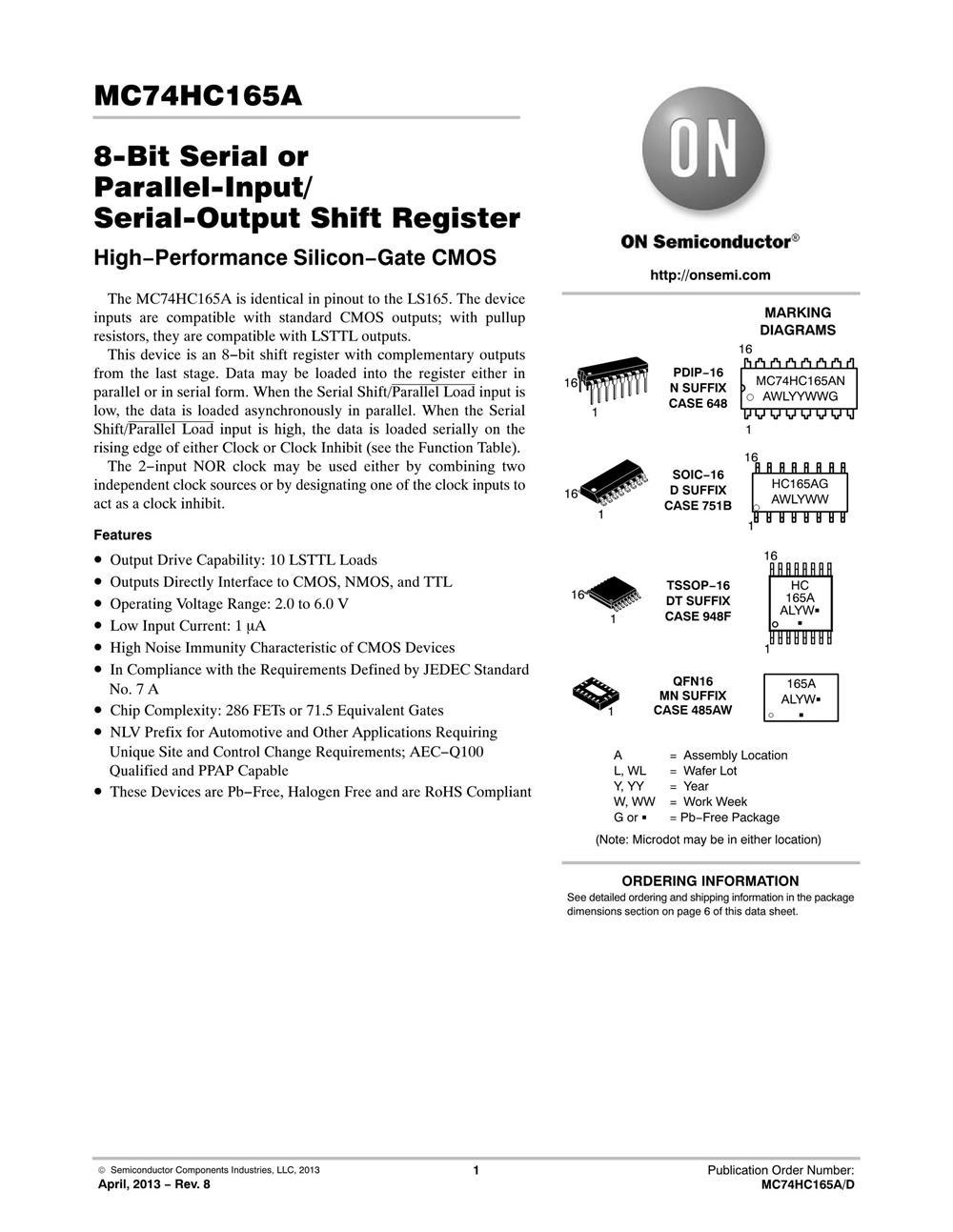 MC74HC165ADR2G's pdf picture 1