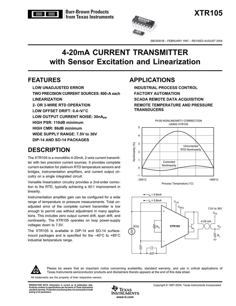 XTR105UA's pdf picture 1