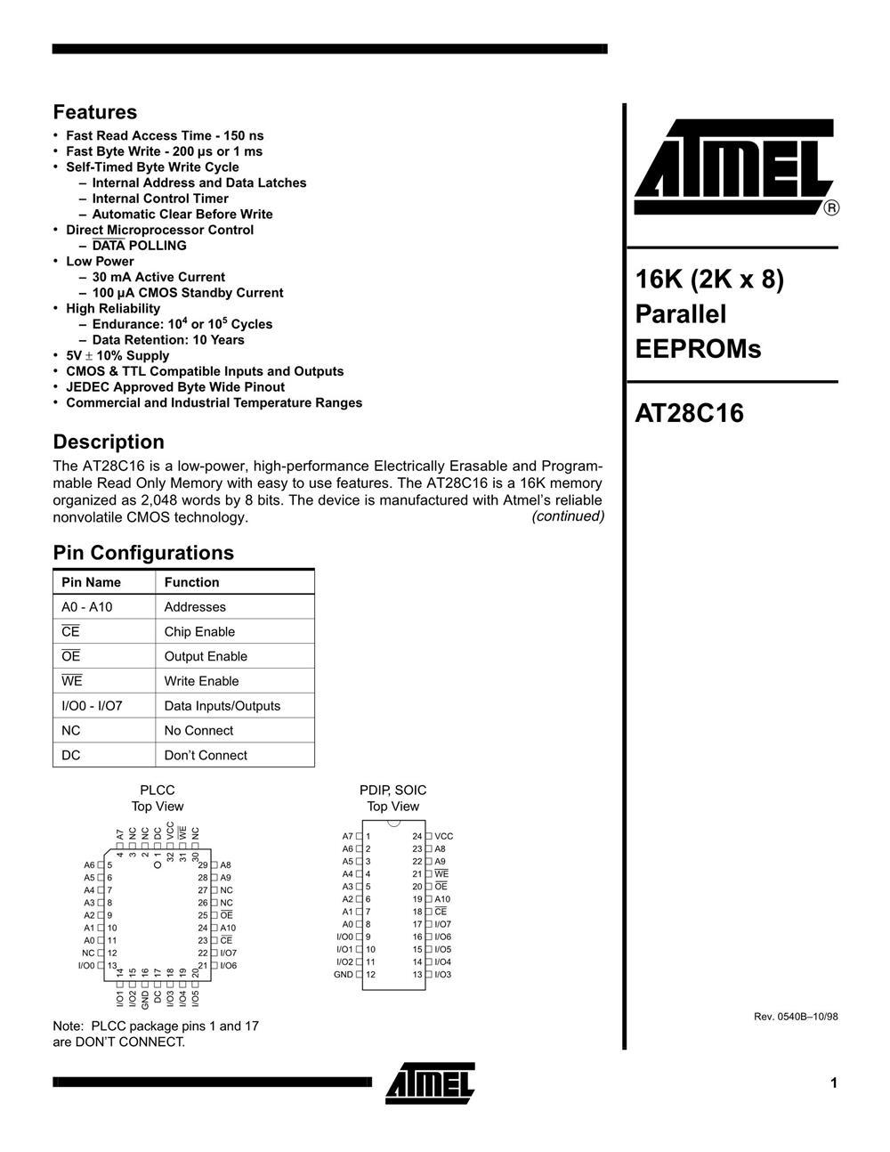 AT28C16-15PI's pdf picture 1