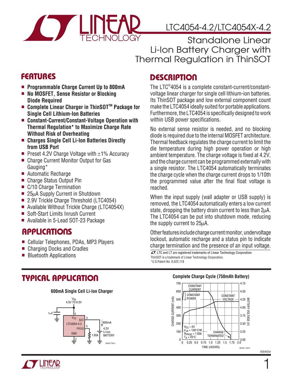 LTC4054ES5-4.2#TRMPBF's pdf picture 1