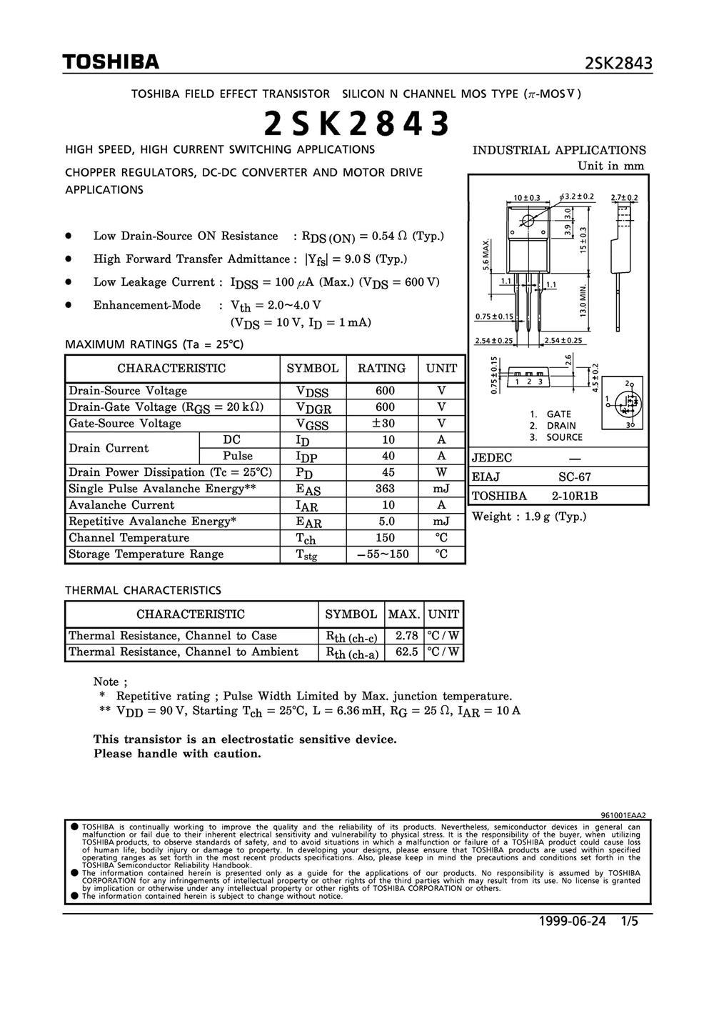2SK2843's pdf picture 1