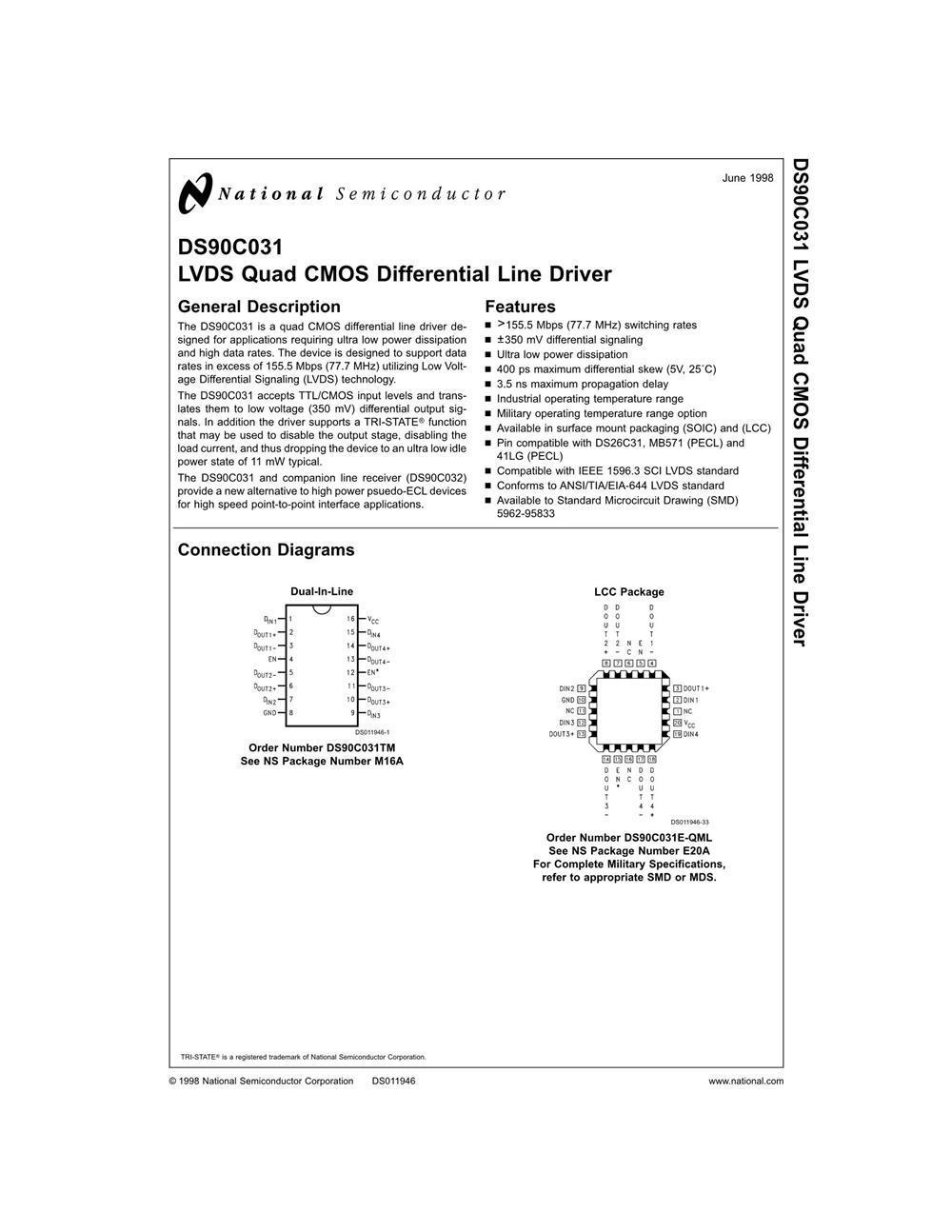 DS90C031TM's pdf picture 1
