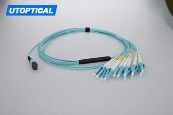 1m (3ft) MTP Female to 4 LC UPC Duplex 8 Fibers OM3 50/125 Multimode Breakout Cable, Type B, Elite, LSZH, Aqua