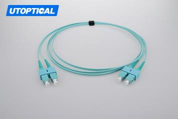 3m (10ft) SC UPC to SC UPC Duplex 2.0mm PVC(OFNR) OM4 Multimode Fiber Optic Patch Cable