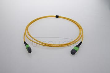 3m (10ft) MTP Female to MTP Female 12 Fibers OS2 9/125 Single Mode Trunk Cable, Type A, Elite, LSZH, Yellow