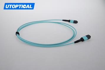 2m (7ft) MTP Female to Female 12 Fibers OM3 50/125 Multimode Trunk Cable, Type A, Elite, Plenum (OFNP), Aqua