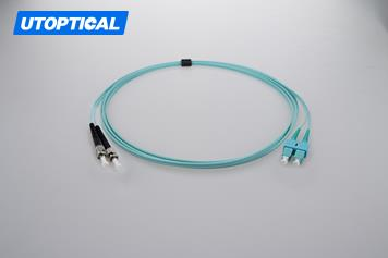 30m (98ft) SC UPC to ST UPC Duplex 2.0mm PVC(OFNR) OM3 Multimode Fiber Optic Patch Cable