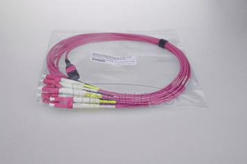 3m (10ft) MTP Female to 6 LC UPC Duplex 12 Fibers OM4 50/125 Multimode Breakout Cable, Type A, Elite, LSZH, Magenta