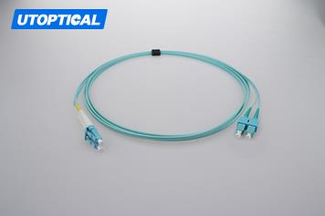 15m (49ft) LC UPC to SC UPC Duplex 2.0mm OFNP OM3 Multimode Fiber Optic Patch Cable