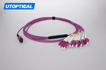 15m (49ft) MTP Female to 4 LC UPC Duplex 8 Fibers OM4 50/125 Multimode Breakout Cable, Type B, Elite, LSZH, Magenta