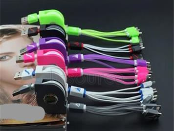 Scalable four one bull multi-function data line Yituo four charger line phone line 4 in 1 white color