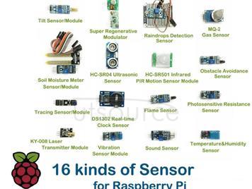 16 kinds of Sensor (Module) for Raspberry Pi Model 2B/3B/3B+