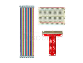 Raspberry Pi B-type GPIO Expansion DIY Kit(rainbow 40P flat cable+breadboard+GPIO pinboard)