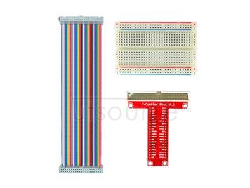 Raspberry Pi B-type GPIO Expansion DIY Kit(rainbow 40P flat cable+breadboard+GPIO pinboard)