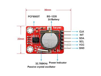 PCF8563 Calendar Real-time Clock Module With CR1220 Battery  Power-off Protection  Arduino Compatible