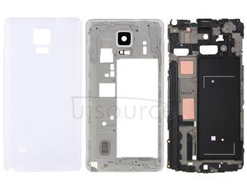 Full Housing Cover (Front Housing LCD Frame Bezel Plate + Middle Frame Bazel Back Plate Housing Camera Lens Panel + Battery Back Cover ) for Galaxy Note 4 / N910V(White)