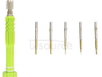 JF-6688 5 in 1 Metal Multi-purpose Pen Style Screwdriver Set for Phone Repair(Green)