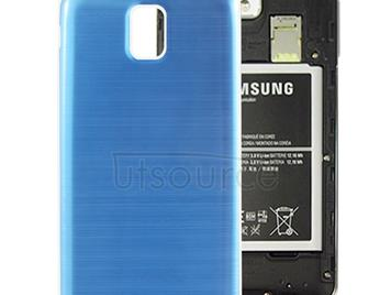 Full Metallic Brushed  Battery Cover with White Frame for Galaxy Note III / N9000(Blue)