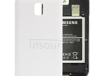 Crocodile Texture Plating Plastic Material  Back Cover for Galaxy Note III / N9000(White)