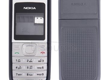 Full Housing Cover (Front Cover + Middle Frame Bazel + Battery Back Cover) for Nokia 1200 / 1208 / 1209(Black)