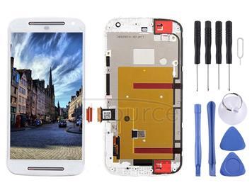 3 in 1 (LCD + Frame + Touch Pad) Digitizer Assembl for Motorola Moto G2(White)