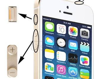 Original 3 in 1 Alloy Material (Mute Button + Power Button + Volume Button) for iPhone 5S, Golden