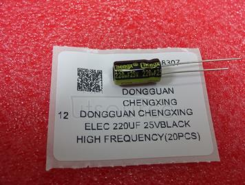 Dongguan Chengxing Elec 220uF 25VBlack high frequency(20pcs)