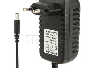 High Quality EU Plug AC 100-240V to DC 6V 2A Power Adapter, Tips: 5.5 x 2.1mm, Cable Length: 1.1m(Black)
