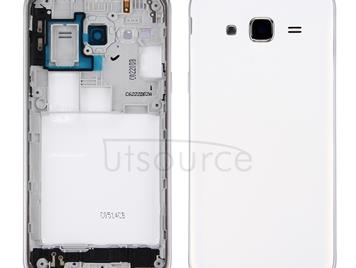 Battery Back Cover + Middle Frame Bezel for Galaxy J3 (2016) / J320 (Double card version)(White)