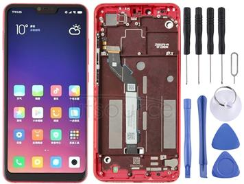LCD Screen and Digitizer Full Assembly with Frame for Xiaomi Mi 8 Lite (Red)