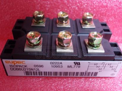 DDB6U215N12L Diode Bridges<br/> Package: AG-ISOPACK-1<br/> VDRM/ VRRM V: 1,600.0 V<br/> IFSM max: 1,375.0 A<br/> Configuration: 3 phase bridge rectifier uncontrolled<br/> Housing: IsoPACK&#153<br/><br/>