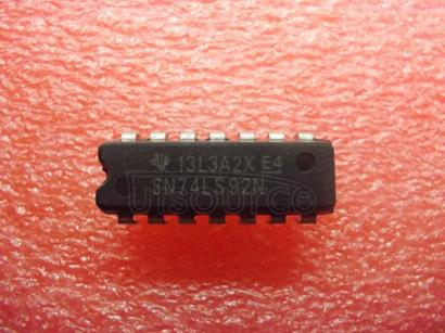 SN74LS92N Silicon Controlled Rectifier<br/> Package: TO-220 3 LEAD STANDARD<br/> No of Pins: 3<br/> Container: Bulk<br/> Qty per Container: 50
