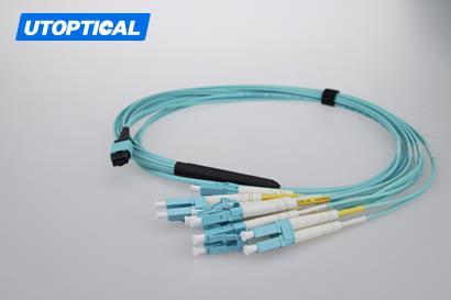 2m (7ft) MTP Female to 4 LC UPC Duplex 8 Fibers OM3 50/125 Multimode Breakout Cable, Type B, Elite, Plenum (OFNP), Aqua