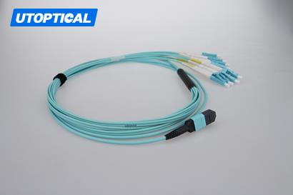 10m (33ft) MTP Female to 4 LC UPC Duplex 8 Fibers OM3 50/125 Multimode Breakout Cable, Type B, Elite, Plenum (OFNP), Aqua